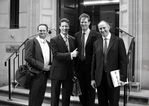 The core DHX team hit the road for its 2006 IPO.  From left: Dana Landry (then CFO, now CEO); David Regan (EVP strategy & corporate development); Steven DeNure (president & COO); Michael Donovan (then CEO, now executive chairman). Photo: DHX