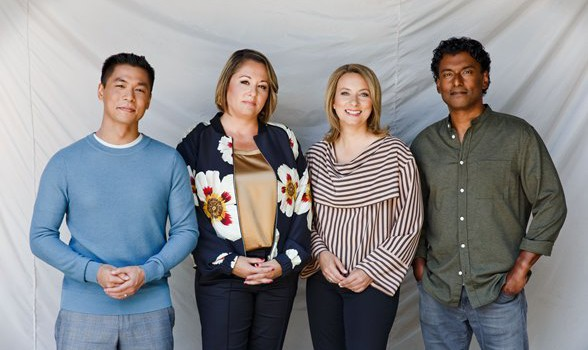 The National new hosts Andrew Chang, Rosemary Barton, Adrienne Arsenault and Ian Hanomansing (Supplied by CBC)
