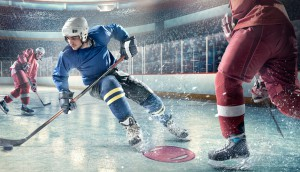 Ice hockey players in action