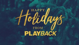 Gold Happy Holidays Script with Evergreen Background