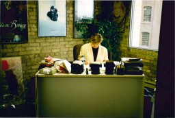 vivier working in her mfm office.