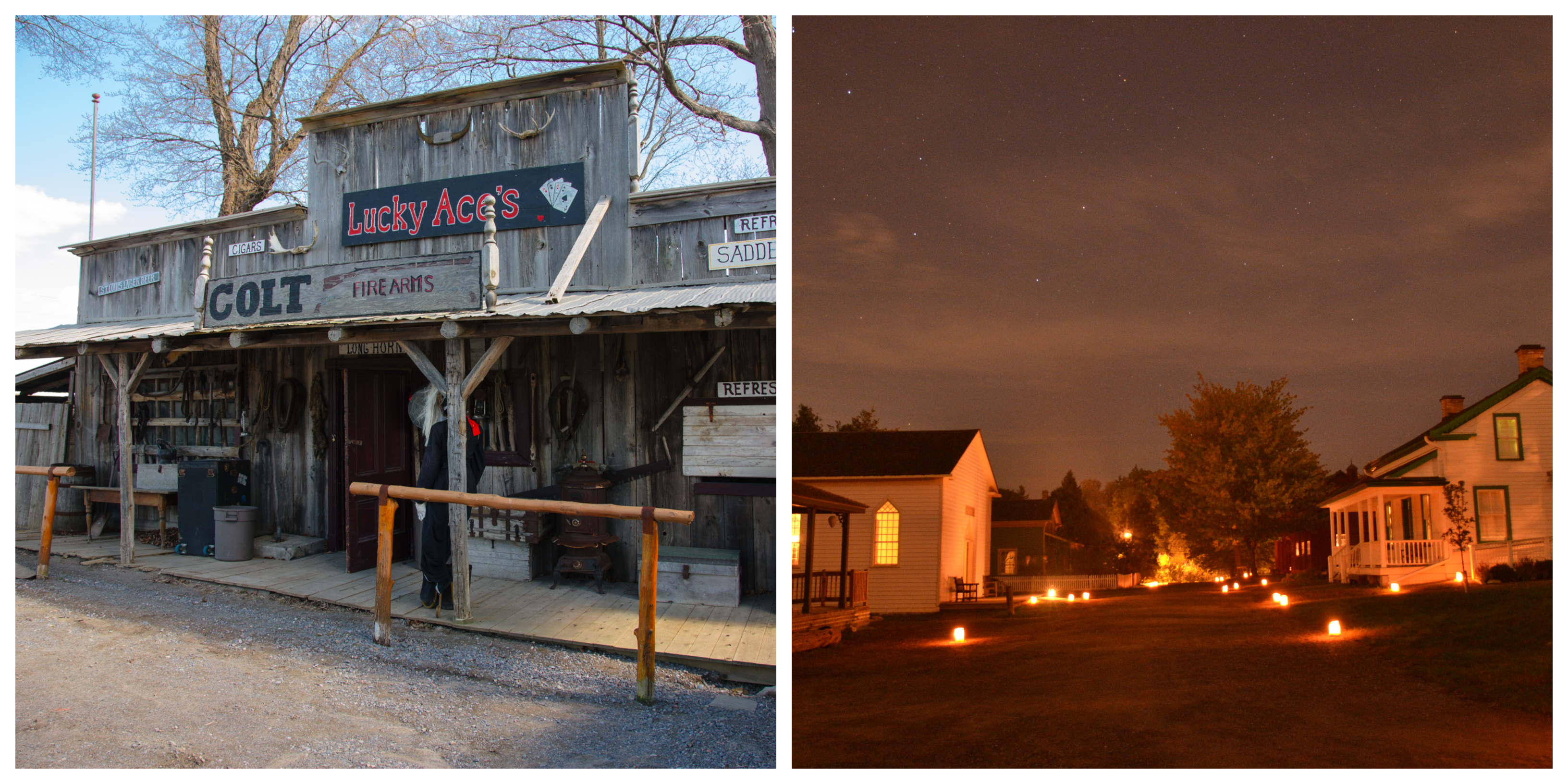 For period shoots, Docville Wild West Movie Set (left) replicates the look and feel of a frontier settlement and Pickering Museum Village (right) brings the pioneer experience to life.