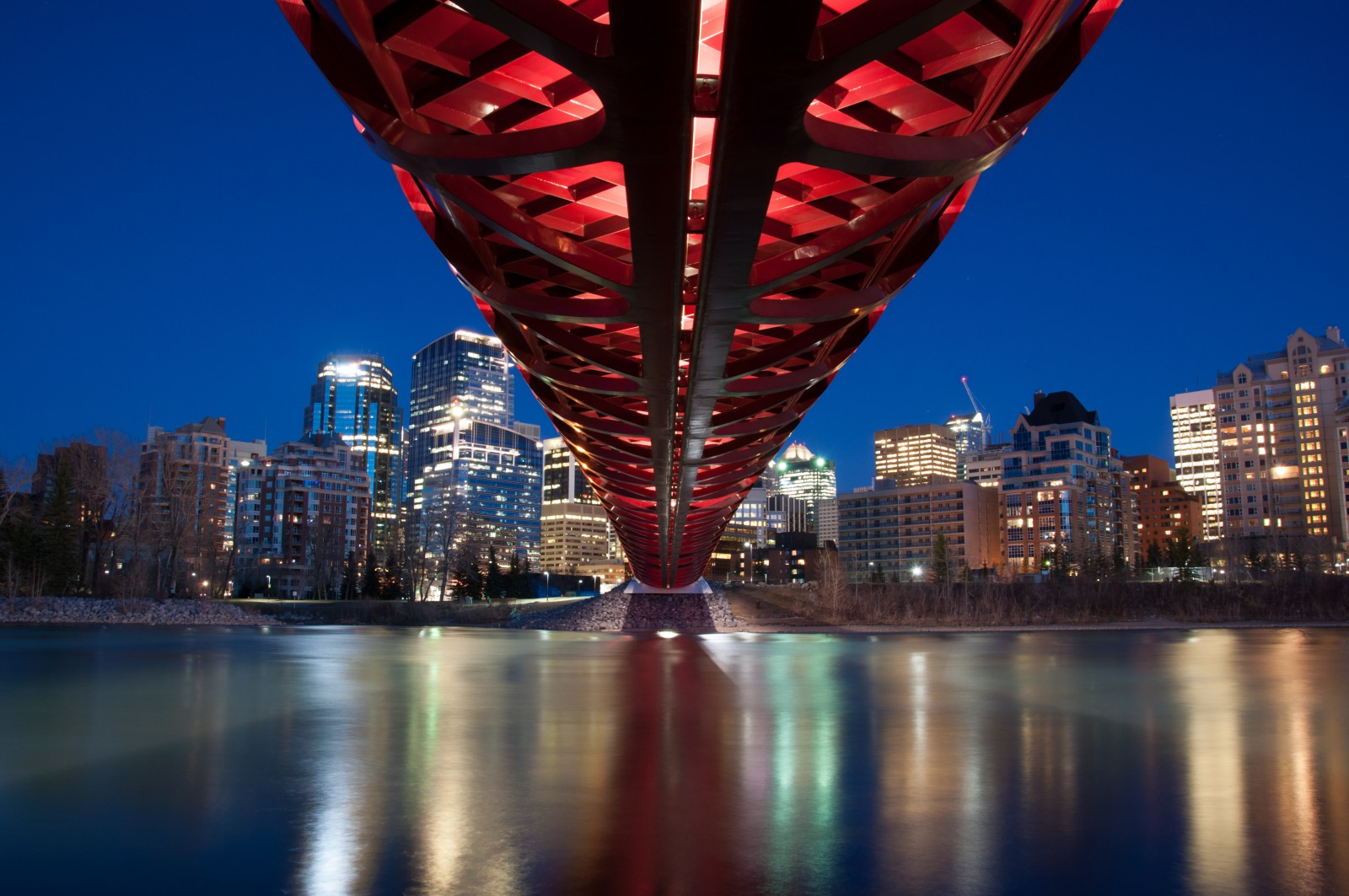 The Calgary Peace Bridge is one of many unique filming locations in Calgary, Alberta.