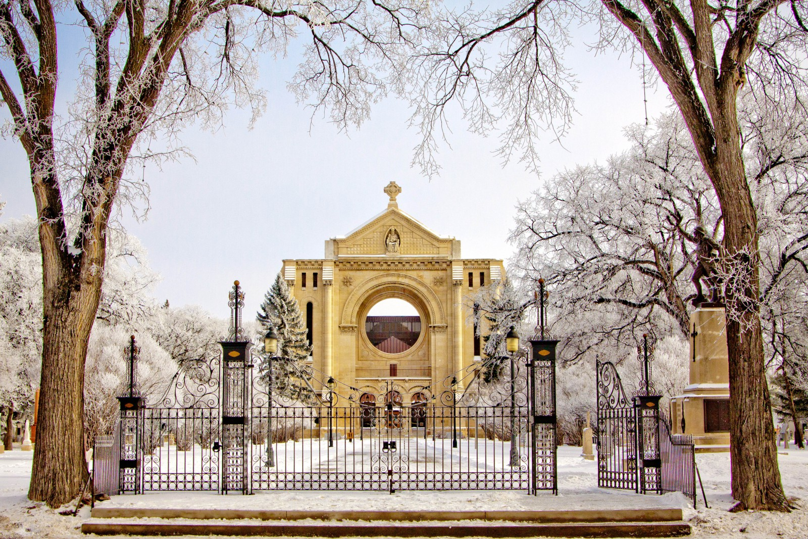 Manitoba's winter days are bright and refreshing, and winter months are perfect for night shoots. Pictured here: Saint Boniface Cathedral (Tourism Winnipeg.)