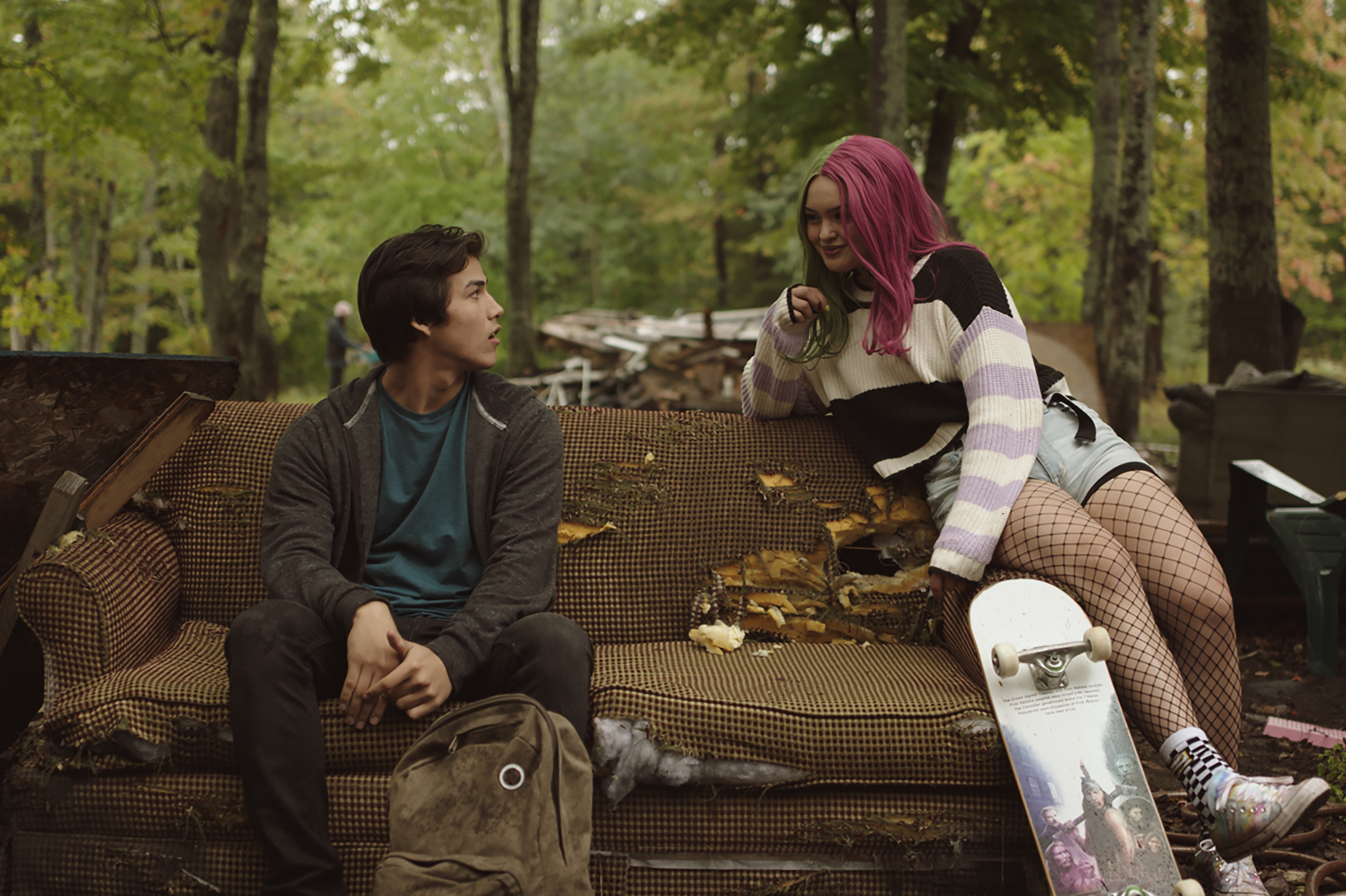 Joel Oulette (Jared) and Anna Lambe (Sarah) in Trickster