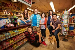 the award-winning main cast of the scripted mega-hit comedy series kim's convenience.