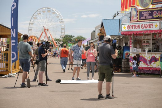 a behind the scenes look at the filming of carnival eats at the northern wisconsin state fair.